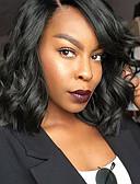 billige Hatter til damer-Syntetiske parykker Vann Bølge Kardashian Stil Bobfrisyre Lokkløs Parykk Svart Jet Svart Syntetisk hår Dame Side del / Afroamerikansk parykk Svart Parykk Medium Lengde
