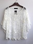 זול חולצה-אחיד משוחרר חולצה - בגדי ריקוד נשים שרוול עטלף ניילון