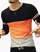 preiswerte Herren T-Shirts & Tank Tops-Herrn Geometrisch / Patchwork / camuflaje - Einfach Baumwolle T-shirt, Rundhalsausschnitt Orange / Langarm