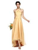 abordables Vestidos de Dama de Honor-Corte en A Halter Asimétrica Organza / Satén Vestido de Dama de Honor con Plisado por LAN TING BRIDE® / Espalda Bonita