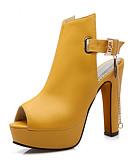 ieftine Pantaloni de Damă-Pentru femei PU Primăvară / Vară Sandale Toc Îndesat Pantofi vârf deschis Cataramă / Lanț Alb / Negru / Galben / Party & Seară / Party & Seară