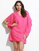 hesapli Kadın Elbiseleri-Kadın's Fener Kol A Şekilli Elbise - Solid Diz üstü