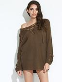 preiswerte Damen Kapuzenpullover & Sweatshirts-Damen Ausgehen Street Schick Langarm Pullover - Solide V-Ausschnitt