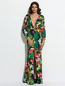 baratos Vestidos Longos-Mulheres Tamanhos Grandes Praia Boho Bainha Vestido - Fenda, Floral Decote em V Profundo Longo