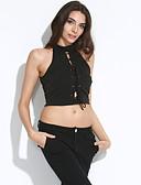 hesapli Kadın Elbiseleri-Kadın's Polyester Splandeks Boğazlı Solid Kısa Paltolar