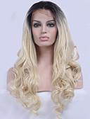 billige Damekjoler-Syntetisk blonder foran parykker Bølget Blond Syntetisk hår Naturlig hårlinje Blond Parykk Dame Blonde Forside Svart / Blond
