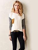 cheap Women's Blouses-Women's Going out Street chic T-shirt - Patchwork / Spring / Fall