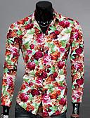 baratos Camisas Masculinas-Homens Camisa Social Taxas, Floral Algodão / Poliéster Colarinho Clássico Delgado / Manga Longa