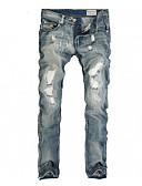 abordables Pantalones y Shorts de Hombre-Hombre Algodón Vaqueros Pantalones - Un Color