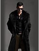 رخيصةأون معاطف و معاطف مطر رجالي-طويلة معطف فرو رجالي - عمل كلاسيكي لون الصلبة فرو / كم طويل