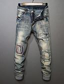 preiswerte Herren-Hosen und Shorts-Herrn Freizeit Mittlere Hüfthöhe Mikro-elastisch Gerade Jeans Hose, Baumwolle Frühling Herbst Ganzjährig Solide