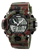 cheap Sport Watches-Men's Sport Watch / Military Watch / Wrist Watch Alarm / Calendar / date / day / Water Resistant / Water Proof Rubber Band Camouflage Black / Green / LCD / Dual Time Zones / Stopwatch / Two Years