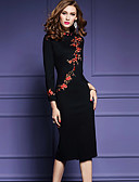 cheap Women's Dresses-Women's Embroidery Plus Size Going out Chinoiserie Bodycon Dress - Floral Black, Embroidered Spring Black XL XXL XXXL / Slim