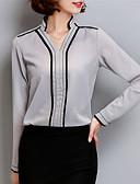 abordables Camisas y Camisetas para Mujer-Mujer Tallas Grandes Blusa, Escote en Pico Un Color Poliéster