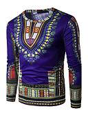 cheap Men's Shirts-Men's Sports Active / Boho / Exaggerated Cotton T-shirt - Tribal Print Round Neck / Long Sleeve
