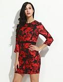 お買い得  レディースドレス-女性用 プラスサイズ シース ドレス ジャカード
