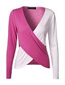 رخيصةأون قمصان نسائية-نسائي قطن تيشرت V رقبة ألوان متناوبة / الربيع / الخريف