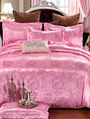 זול חצאיות לנשים-סטי שמיכה פרחוני 4 חלקים תערובת משי\ כותנה ג'אקארד תערובת משי\ כותנה 4 יחידות (1 כיסוי שמיכה, 2 כיסוי כרית, 1 סדין)