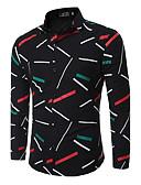 abordables Camisas de Hombre-Hombre Chic de Calle Algodón Camisa, Cuello Inglés Delgado Geométrico