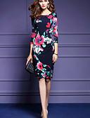 abordables Vestidos de Talla Grande-Mujer Noche Vintage Corte Bodycon Vestido Floral Tiro Alto Hasta la Rodilla
