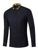 abordables Camisas de Hombre-Hombre Algodón Camisa, Cuello Inglés Un Color