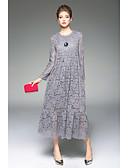 billige Kjoler-Dame Ferie / I-byen-tøj Afslappet Løstsiddende Kjole - Ensfarvet Midi