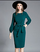 cheap Women's Dresses-Women's Going out / Work Street chic / Sophisticated Lantern Sleeve Bodycon / Sheath Dress - Solid Colored Bow / Spring / Summer