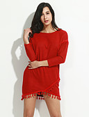 cheap Women's Dresses-Women's Going out Holiday Plus Size Casual Sophisticated A Line Dress,Solid Round Neck Mini Long Sleeves Nylon Spring Mid Rise