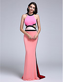 cheap Cocktail Dresses-Sheath / Column Jewel Neck Sweep / Brush Train Jersey Beautiful Back / Cut Out Formal Evening Dress with Pleats by TS Couture®