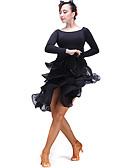hesapli Göbek Dansı Giysileri-Latin Dansı Alt Giyimler Kadın's Performans Tül / Włókno mleczne Fırfırlı Doğal Etek