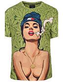 cheap Men's Tees & Tank Tops-Men's Club Boho / Street chic / Punk & Gothic Plus Size T-shirt - Portrait Print Round Neck / Short Sleeve