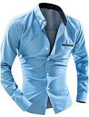 povoljno Muške košulje-Majica Muškarci Dnevno / Rad / Vikend Pamuk Jednobojni Ovratnik s gumbima Slim / Dugih rukava