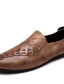 זול טישרטים לגופיות לגברים-בגדי ריקוד גברים נוחות לופרס דמוי עור אביב / סתיו נוחות נעליים ללא שרוכים הליכה שחור / אפור / חאקי