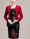 رخيصةأون فساتين نسائية-فوق الركبة جاكوارد, ورد - فستان غمد / قطعتين قياس كبير معقد ذهاب للخارج للمرأة / ربيع / خريف / ضعيف