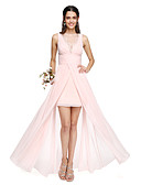 cheap Evening Dresses-A-Line Bateau Neck Asymmetrical Chiffon Bridesmaid Dress with Pleats / Lace Insert by LAN TING BRIDE®