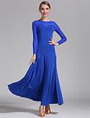 저렴한 볼룸 댄스 웨어-볼륨 댄스 드레스 여성용 트레이닝 / 성능 튤 / 비스코스 드레이핑 긴 소매 내츄럴 드레스