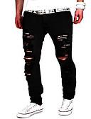 cheap Men's Pants & Shorts-Men's Street chic / Punk & Gothic Cotton Slim Slim / Jeans / Chinos Pants - Solid Colored Black / Weekend