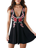 cheap Mini Dresses-Women's Embroidery Daily / Going out A Line / Sheath Dress - Floral / Patchwork Black, Backless Deep V Summer White Black M L XL