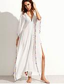 זול שמלות נשים-לבן צווארון V גיזרה גבוהה מקסי אחיד - שמלה משוחרר / נדן בוהו חגים / ליציאה / חוף בגדי ריקוד נשים / קיץ / תחרה / גדול