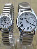 abordables Relojes Brazalete-Hombre / Mujer / Pareja Reloj de Pulsera Reloj Casual Acero Inoxidable Banda Casual Plata / SSUO 377