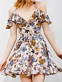 tanie Sukienki-Damskie Bawełna Swing Sukienka - Kwiaty, Nadruk W serek Nad kolano
