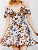 cheap Party Dresses-Women's Off Shoulder Daily Swing Dress - Floral Print V Neck Spring Cotton Blue M L XL / Ruffle
