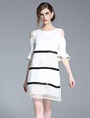 preiswerte Damen Kleider-Damen Street Schick Hülle Kleid - Ausgehöhlt, Gestreift Übers Knie