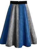 זול שמלות נשים-טלאים קולור בלוק - חצאיות כותנה גזרת A