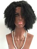 billiga Maxiklänningar-Äkta hår Helnät utan lim Hel-spets Peruk Rihanna stil Brasilianskt hår Kinky Curly Natur Svart Peruk 130% Hårtäthet med babyhår Naturlig hårlinje Afro-amerikansk peruk 100 % handbundet Natur Svart Dam