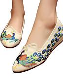 ieftine Rochii Damă-Pentru femei Pantofi Pânză Primăvară / Vară Confortabili / Noutăți / Pantofi brodate Oxfords Plimbare Toc Drept Vârf ascuțit Cataramă /