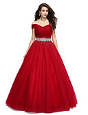 cheap Prom Dresses-Ball Gown Off Shoulder / V Wire Floor Length Tulle Formal Evening Dress with Beading / Sequin by TS Couture®