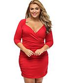 hesapli Büyük Beden Elbiseleri-Kadın's Büyük Bedenler Çalışma Salaş Kılıf Elbise - Solid V Yaka Diz-boyu Diz üstü Düşük Bel