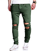 cheap Men's Pants & Shorts-Men's Mid Rise Micro-elastic Slim Jeans Chinos Pants,Casual Solid Cotton Spring Summer All Seasons