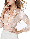 رخيصةأون قمصان نسائية-نسائي بلوزة مرتفعة لون سادة, مناسب للخارج / شاطئ / الربيع / الصيف / دانتيل